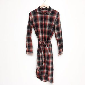 Soaked in Luxury | Belted Plaid Midi Shirt Dress